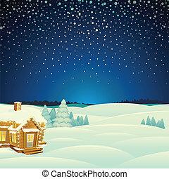 krajobraz., wektor, zima, ilustracja, rysunek