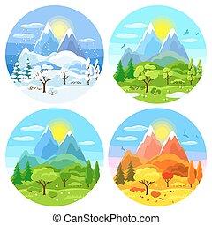 krajobraz., zima, drzewa, górki, wiosna, góry, autumn., cztery, ilustracje, pory, lato