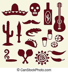 krajowiec, meksykanin, style., zbiór, ikony
