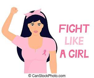 krajowy, dziewczyna, walka, chorągiew, pierś, różowy, rak, świadomość, wstążka, kobieta, do góry., pięść, podobny, t-shirt, podniesiony, month.