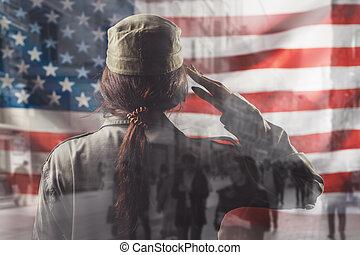krajowy, pozdrawianie, prospekt., states., amerykanka, ekspozycja, przeciw, ferie, żołnierz, podwójny, tło, tylny, samica, flag., zjednoczony