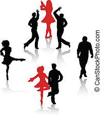 krajowy, tancerze, sylwetka, lud