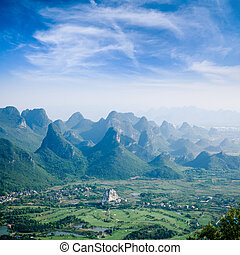 kras, guilin, górski krajobraz, górki, piękny