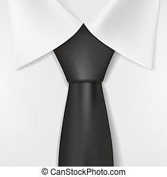 krawat, biały, czarna koszula