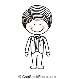 krawat, chłopiec, formalny, sylwetka, garnitur