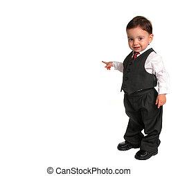 krawat, dziecko, garnitur, chłopiec