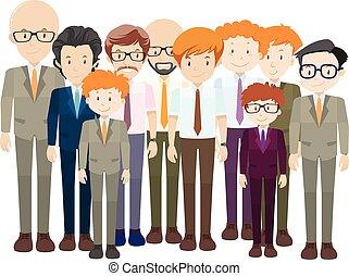 krawat, formalny, mężczyźni, garnitur