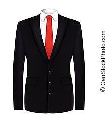 krawat, garnitur, czarnoskóry, biały czerwony, koszula