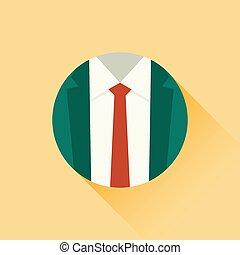 krawat, wektor, czerwony, ilustracja, garnitur