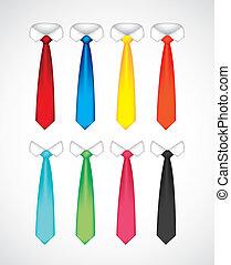 krawaty, różny, barwny