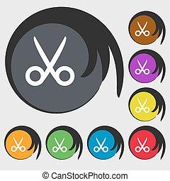 krawiec, buttons., barwny, fryzjer, symbol., znak, symbolika, wektor, osiem, nożyce, icon.