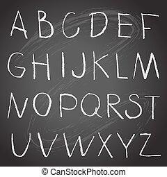 kreda, alfabet, tablica, rysunek, ręka