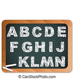 kreda, alfabet, tablica