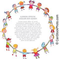 kreda, okrągły, robiony, barwny, rysunek, dzieci, taniec