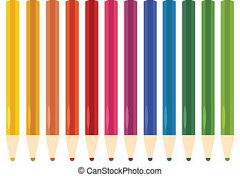 kredki, komplet, barwny, odizolowany, biały, pastel