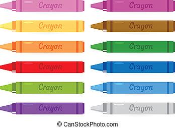 kredki, komplet, odizolowany, barwny, biały