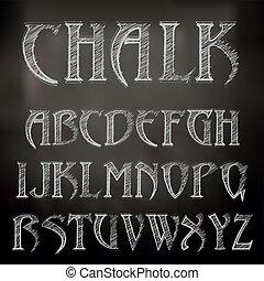 kredowy, alfabet, tablica, wektor, sketched