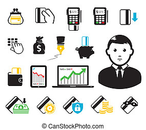 kredyt, pos-terminal, karta, ikony