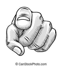 kreskówka, palec spoinowanie, retro