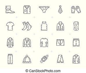 kreska, człowiek, odzież, ikony