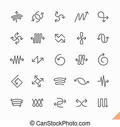 kreska, komplet, strzały, cienki, ikony