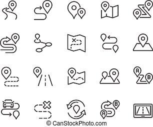 kreska, marszruta, ikony