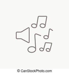 kreska, notatki, muzyka, icon., loudspeakers