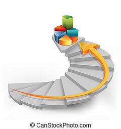 kroki, sroka, strzała, wykres