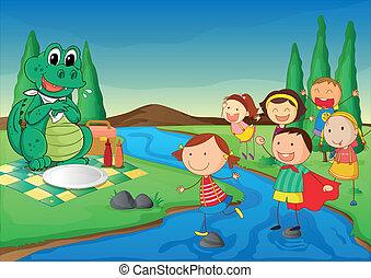 krokodyl, dzieciaki, piknik