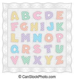 kropkuje, kołdra, pastel, alfabet, polka