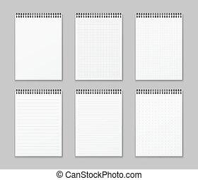kropkuje, notepads, spirala, realistyczny, komplet, strona, szary, pionowy, odizolowany, wektor, liniowany, tło, notebooks., papier