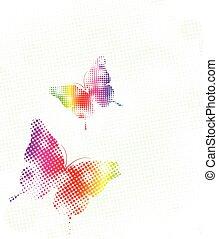 kropkuje, tęcza, wektor, ilustracja, butterfly.