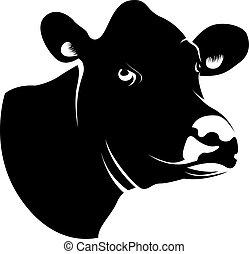 krowa, abstrakcyjny, głowa, czarnoskóry