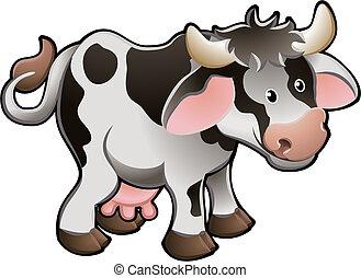 krowa, ilustracja, sprytny, wektor, mleczarnia