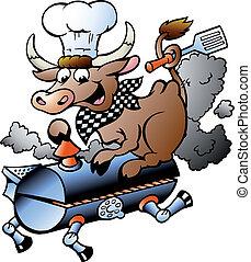 krowa, mistrz kucharski, baryłka, jeżdżenie, bbq