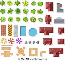 krzaki, krajobraz, wektor, antena, domy, prospekt, odizolowany, górny, kałuża, drzewa, architektoniczny, komplet, plan, ławy, zielony, elements., ogród