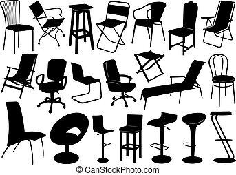 krzesła, komplet, ilustracja