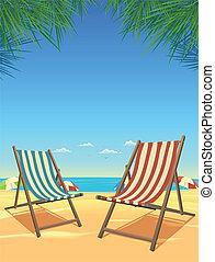 krzesła, lato, tło, plaża