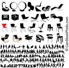 krzesła, ludzie, zbiór, posiedzenie