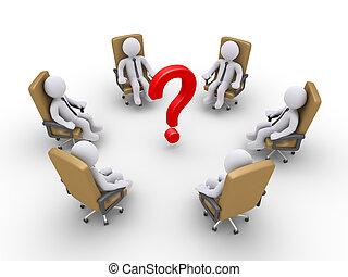 krzesła, marka, pytanie, biznesmeni, posiedzenie