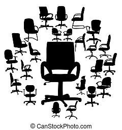 krzesła, sylwetka, wektor, biuro, ilustracja
