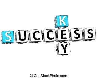 krzyżówka, powodzenie, klucz, 3d
