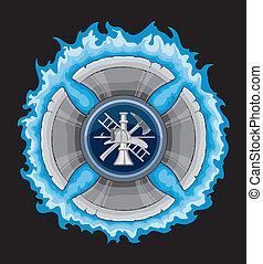 krzyż, firefighter, błękitny, płomienie
