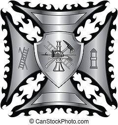 krzyż, firefighter, tarcza, srebro