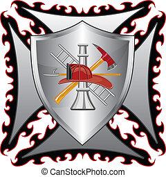 krzyż, firefighter, tarcza