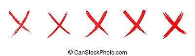 krzyż, illustration., czerwony biel, odizolowany, set., wektor, tło., na