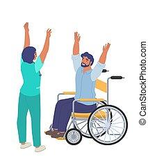 krzywda, inwalidztwo, ludzie, fizjoterapia, płaski, illustration., rehabilitacja, wektor, traktowanie