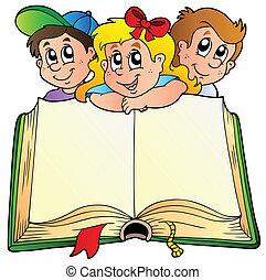 książka, dzieci, otworzony, trzy