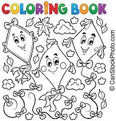 książka, kolorowanie, latawce, trzy