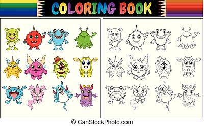 książka, kolorowanie, potwory, zbiór, rysunek